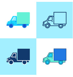 truck icon set in flat and line style vector image