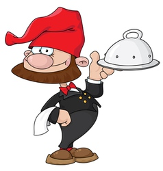 Waiter gnome with tray vector