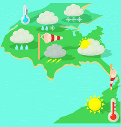 Weather symbols concept map cartoon style vector