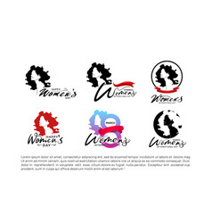 Women day logo design set with woman silhouette vector