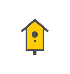 wooden birdhouse colorful icon nature vector image