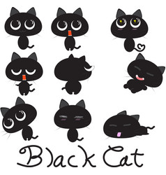 black cat cartoon character more action vector image