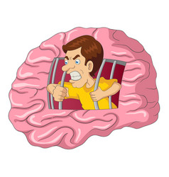 Cartoon of a man breaking free from brain vector