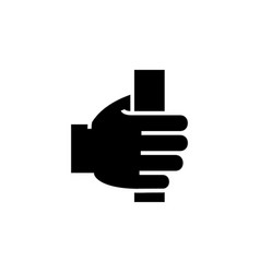 hand holding icon black sign vector image