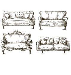 set of sofas drawings sketch style vector image vector image