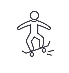 skating skate flat line concept vector image vector image