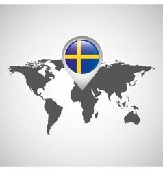 sweden flag pin map design vector image vector image