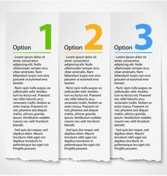 White torn paper progress option label background vector image vector image