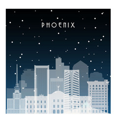 winter night in pheonix night city in flat style vector image vector image