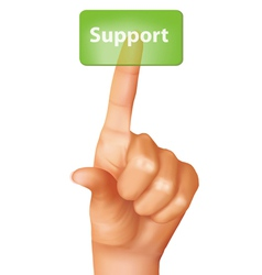 a finger pushing support button vector image vector image