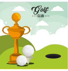 golf club trophy balls and field hole vector image