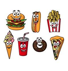 Happy colorful takeaway cartoon food vector image vector image
