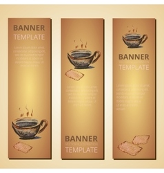 Banners with teapot and cup of tea tea time vector image vector image