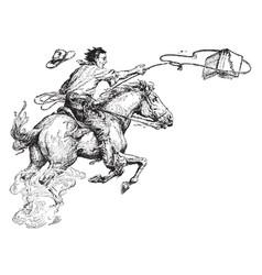 man lassoing book riding vintage engraving vector image