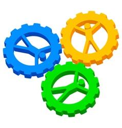 people cog wheels icon vector image