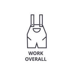 work overall line icon outline sign linear vector image