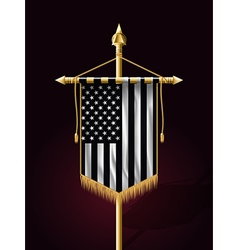 Black and white american flag vertical banner vector