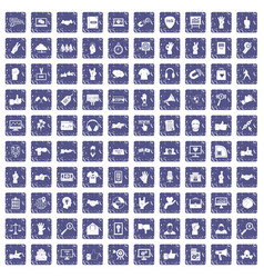 100 different gestures icons set grunge sapphire vector image