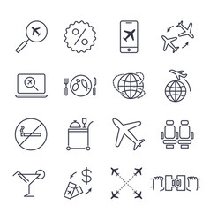 airport and airplane icons set - air vector image