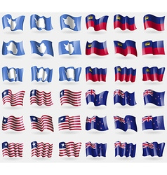 Antarctica Liechtenstein Liberia New Zeland Set of vector