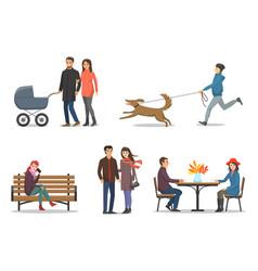 autumn season activities of people set vector image