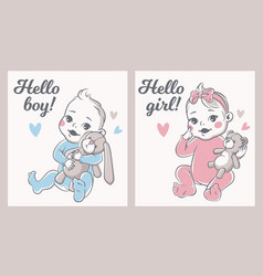 baby shower babies boy and girl greeting vector image