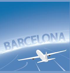 Barcelona skyline flight destination vector