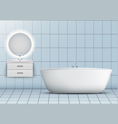 Bath and washbasin cabinet with mirror vector