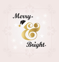 Black and golden merry bright holiday decoration vector