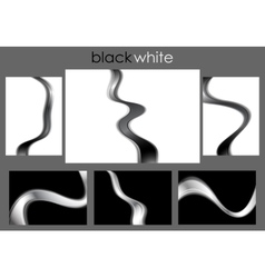 Black and white abstract waves collection vector image