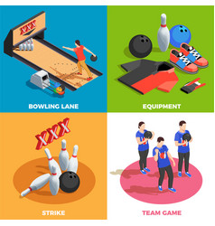 bowling isometric design concept vector image