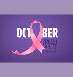 Breast cancer awareness month card with pink silk vector
