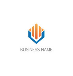 business graph economy building geometry logo vector image