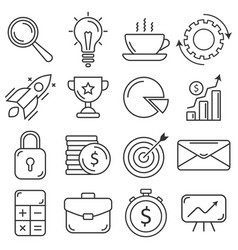 business icons set flat thin line style vector image