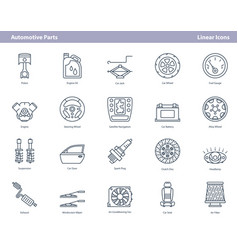 Car automotive parts - outline icons set vector