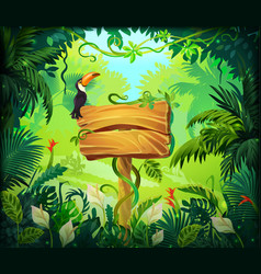 cartoon jungle background tropical forest nature vector image