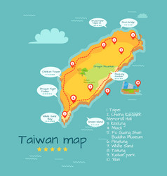 Cartoon taiwan map with famous places vector