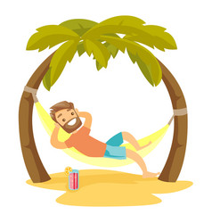 Caucasian white man lying in hammock on the beach vector