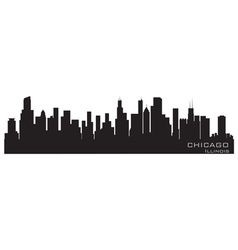 Chicago illinois skyline detailed silhouette vector