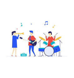 children playing music - flat design style vector image
