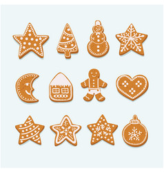 christmas cookies collection figures vector image