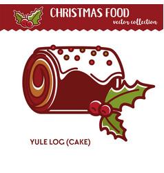 Christmas food yule log festive dessert with vector