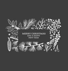 Christmas hand drawn greeting card template vector