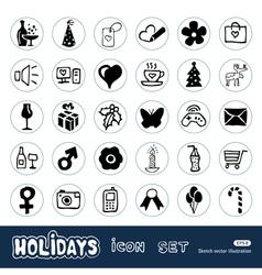 Christmas holidays web icons set vector image
