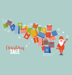 christmas sale santa with gifts vector image