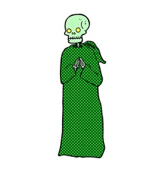 Comic cartoon skeleton in black robe vector