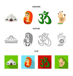 Country india cartoonoutlineflat icons in set vector