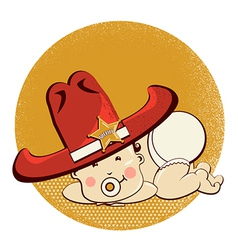 Cowboy little bawith big western sheriff hat vector