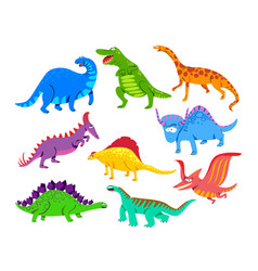 Cute baby dinosaurs dragons and funny dino vector