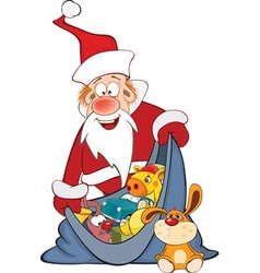 Cute Santa Claus and a Sack Full of Gifts vector image vector image